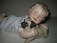 Antique 11 Conta Boehme or Heubach Piano Baby w Pug Dog Pug Puppies, Pugs, Piano, Dog Search, Pug Love, Sculptures, Dolls, Antiques, Statues