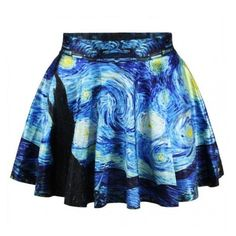 Starry Night Skirt (€12) ❤ liked on Polyvore featuring skirts, bottoms and blue skirt