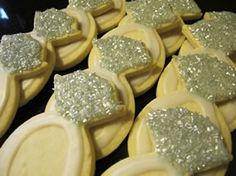 I love these Diamond Ring cookies - what a cute alternative for cake or an engagement party...