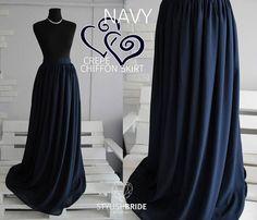 19 Navy Chiffon Simple Skirt Bridesmaids Chiffon Skirts Blue