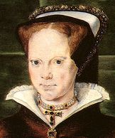 Queen Mary (Bloody Mary) - Elizabeth I's half sister. Wasn't she grim looking? But nice necklace! pearls renaissance medieval sca larp jewelry cross tudor