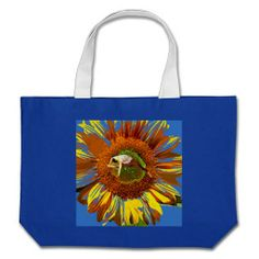 BLUE YOGA YELLOW SUNFLOWER COTTON CANVAS JUMBO BAG, Heavy cotton canvas for all your carrying needs at www.zazzle.com/ara_artist, Great gift,