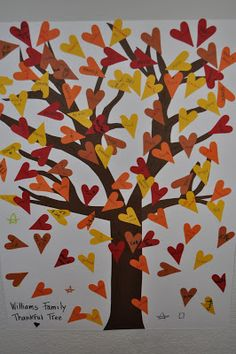 Adapt this gratitude tree idea into a Giving Tree--family members write gifts of service for one another on the paper hearts