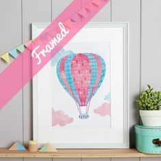 Hot-Air Balloon Nursery Art Children's Decor FRAMED