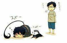 Rin, Yukio, Okumura twins, brothers, funny, sleeping, chibi, text, snot bubble, Kuro, cute; Blue Exorcist