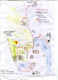 Hand written map of Finca Botanica, the Young Living Farm in Ecuador (2009) - http://www.thehealthyhabitcoach.com/the-healthy-habit-coach/friday-favorite-fab-five-links-may-2nd-2014/