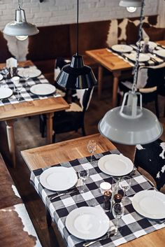 Rustic Farm tables with Black/White Ginham