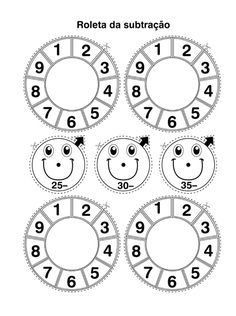 Estas roletas são ótimas atividades de matemática com adição e subtração. Basta colar sobre um papel firme, de preferência papelão. A rod...