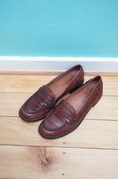 Vintage 38 Loafers Loafer Slipper College Schuhe Flats Leder Echtleder Braun Coganc Ballerinas