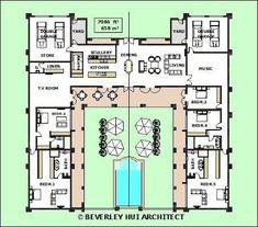 Image result for u shaped house plans with central courtyard