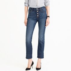 New Perfect Shirt In Cotton Poplin : Women's Shirts J Crew Men, Cropped Jeans, Jeans Style, Autumn Winter Fashion, Winter Style, Casual Wear, Girl Fashion, Denim, My Style