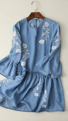 Dress this Embroidery Graphic Denim Dress up and you'll be comfy and cute all day long. More surprise at OASAP!
