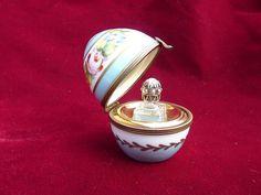 Vintage Limoges Porcelain Egg with Perfume Bottle Mini