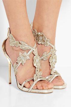 Oscar de la RentaTatum embellished metallic cracked-leather sandalsfront
