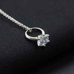 Women Diamond Ring Pendant Necklace Chain Necklace Jewelry