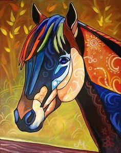 Artículos similares a Fall Horse Art Reproduction Print--Large en Etsy Animal Paintings, Animal Drawings, Art Drawings, Horse Quilt, Horse Artwork, Arte Pop, Equine Art, Native American Art, Fabric Art