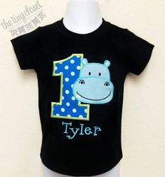 Personalized Hippo Birthday Design- Blue Dots