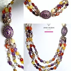 Necklace of THREE TURNS of amethysts, Carneola, CRYSTAL OF ROCK AND CITRINE, WITH CLOSING IN SILVER AND AMATIST.