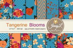 Tangerine Floral Digital Paper by JennyL Designs on @creativemarket
