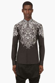 ALEXANDER MCQUEEN Black & ivory lace-print shirt