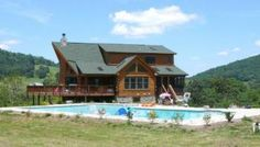 Beautiful Log home, hot tub, swimming pool, wood burning fireplace and campfire area  Located North of Luray off of RT. 340 in Benton ville, Va. 22610. Only 10 miles South of Front Royal and 15 miles ...