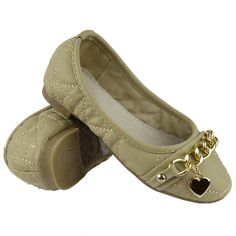 Kids Ballet Flats Quilted Gold Heart Accent Casual Slip On Shoes Beige Girls Ballet Flats, Ballet Kids, Casual Slip On Shoes, Slip On Dress Shoes, Tory Burch Flats, Heart Of Gold, Kids Girls, Beige, My Style