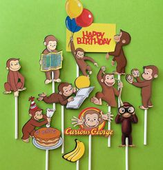 Curious George cupcake toppers Curious George cake topper