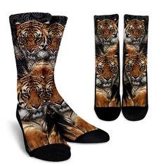 Tiger Socks – Wear Saga Keep Warm, Crew Socks, Pretty Little, Tigers, Saga, Vibrant Colors, Heeled Boots, Take That, Heels