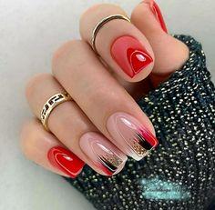 Gelish Nails, Nail Manicure, Red Nails, Cute Nails, Pretty Nails, Minimalist Nails, Nail Art Hacks, Fabulous Nails, Christmas Nails