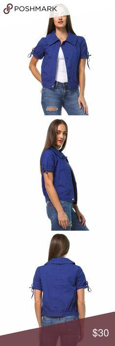 """NWT Anthopologie Tullette Blue Short Sleeve Blazer Includes: 1x Blazer  Condition: NWT  Size: Large  Color: Blue  Sleeve Style: Short Sleeves  Design Features: Button Down / Peter Pan Collar Neck / Drawstring Sleeves / Pockets  Length: 21.5""""  Bust (armpit to armpit): 19""""  Inseam (armpit to bottom hem): 15""""  Material: Shell: 100% cotton. Lining: 65% cotton, 35% polyester Anthropologie Jackets & Coats Blazers"""