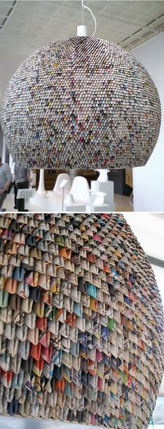 Origami lampshade made of newspaper.