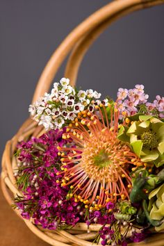 A California Flower Basket!  You can find all of these flowers grown right her in the U.S., just ask!
