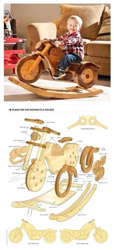 Plans of Woodworking Diy Projects - Rocking Motorcycle Plans - Children's Woodworking Plans and Projects | WoodArchivist.com Get A Lifetime Of Project Ideas & Inspiration!  #WoodworkPlans