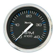 Faria Chesapeake Black SS 4 Tachometer - 4,000 RPM (Diesel - Magnetic Pick-up)
