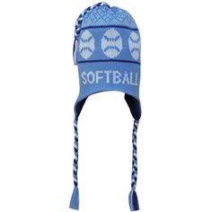 Fleece Lined Knit SOFTBALL Hat Light Light Blue Navy Softball Gifts 7072fb4bf7a2