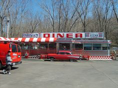 Sally's Dessert Diner, next to Sara's 1950s Diner, Vintage Diner, Retro Diner, Classic American Diner, American Dinner, Johnny Was Clothing, Outdoor Theater, Diner Recipes, Drive In Theater