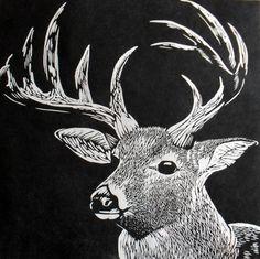 Stag Linocut on Japanese Kozuke paper (44gsm white) by Rowanne Anderson http://www.rowanneanderson.com/ Tags: Linocut, Cut, Print, Linoleum, Lino, Carving, Block, Woodcut, Helen Elstone, Animals, Deer, Stag