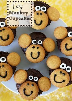 Easy monkey cupcakes: regular and mini Nilla Wafers + ready-made icing eyes + brown/black tube of icing  {Skip to my Lou}