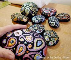 painted paisley stones, crafts, gardening, painting, Paisley stones river rocks painted with acrylic metallic paint