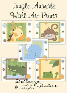 SAFARI ANIMAL PRINTS 8x10 Wall Art Baby Boy Girl por decampstudios