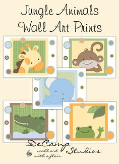 SAFARI ANIMAL PRINTS 8x10 Wall Art Baby Boy Girl por decampstudios