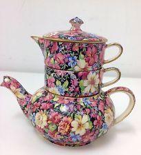 Vintage Black Chintz Royal Winton Florence Stacking Teapot