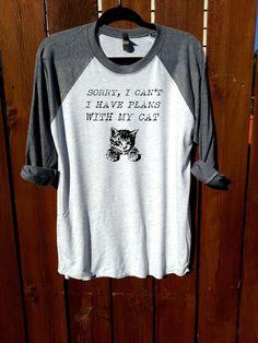 women shirt,fashion shirt,sorry I can't I have plans with my cat,unisex shirt,heather grey/heather white,women tee,workout shirt,gym shirt