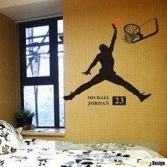 Wall Decal wall decorWall Stickerroom decor by Isabeljia on Etsy Sports Wall Decals, Wall Stickers Room, Michael Jordan, Basketball Bedroom, Teenage Room, Basket Ball, Baby Boy Rooms, Bedroom Themes, Nba
