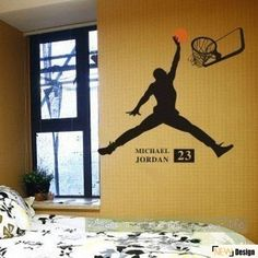 Décalque de mur, décoration murale, Sticker Mural, chambre décor de basket-ball NBA Michael Jordan