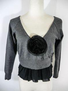 NEW ILONA.K GRAY 100% WOOL FAUX WRAP LAGENLOOK CROPPED SWEATER M-L  #IlonaK #Fauxwrapsweater