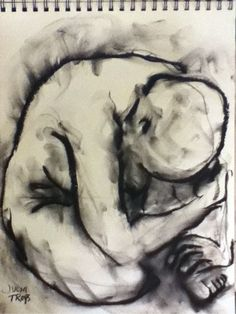 Original Charcoal Drawing Female Nude Canadian Artist Julia Trops