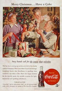 1946 Coca Cola Christmas vintage ad. Merry Christmas... Have a Coke. The pause that refreshes.