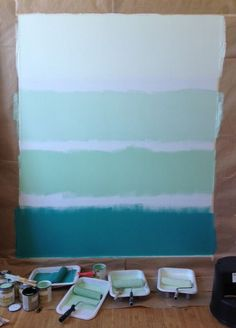 Colorhouse paint Ombre Wall DIY paint project - blue beach feel
