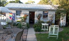 Looking back at shop and garden from the house porch during September Vintage Market.